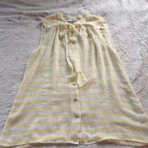 Banana republic striped pussy bow sleeveless blous